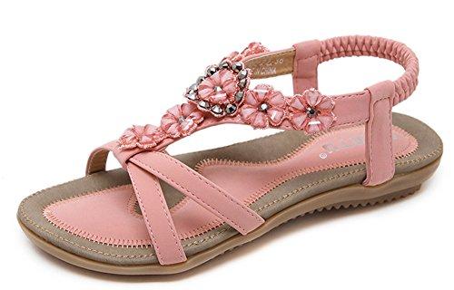 Aisun Women's Sweet Elastic Rhinestones Flowers Sandals Pink JAOcWrw