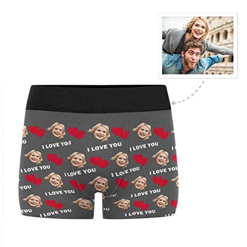 Custom Men's Funny Face I Love You Red Heart Gray Boxer Shorts Briefs Underpants Printed with Photo L ()