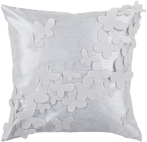 22 Pale Blue and Light Gray Dimensional Butterflies Throw Pillow – Poly Filled