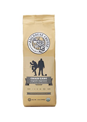 Jailhouse Coffee 'Chain Gang' Organic Espresso, Whole Bean, Dark Roast, 12 oz, True Italian Style Espresso