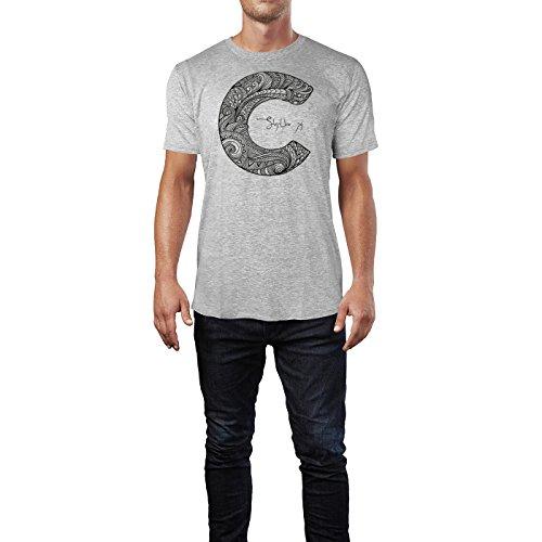SINUS ART ® Dekorativer Buchstabe C Herren T-Shirts in hellgrau Fun Shirt mit tollen Aufdruck