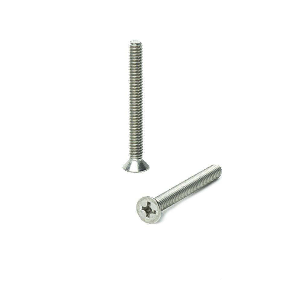 "Bright Finish Machine Thread Phillips Drive #8-32 x 3//4/"" Flat Head Machine Screws Quantity 100 by Bridge Fasteners Full Thread Stainless Steel 18-8"
