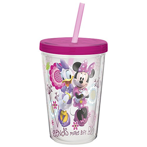 Minnie Mouse Tumbler (Zak! Designs Insulated Tumbler with Screw-on Lid and Straw featuring Minnie Mouse, Break-resistant and BPA-free Plastic, 13 oz.)