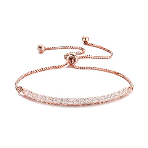 DIFINES Redbarry Micro CZ 18k Rose Gold Plated Bar Shape Adjustable Charm Bracelet for Women Girls 9.05