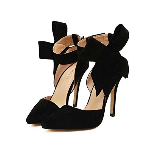Zapatos De Tacón Alto De Hatop, Bombas De Tacón Alto De Talla Grande Para Mujeres Con Corbata De Moño Grande Zapatos De Tacón De Aguja De Punta Afilada Negro