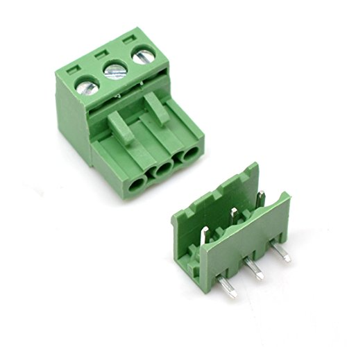 Willwin 20 Set 5.08 mm Pitch Right Angle 3pin PCB Pluggable Terminal Block Connectors (3 Pin Terminal Block)