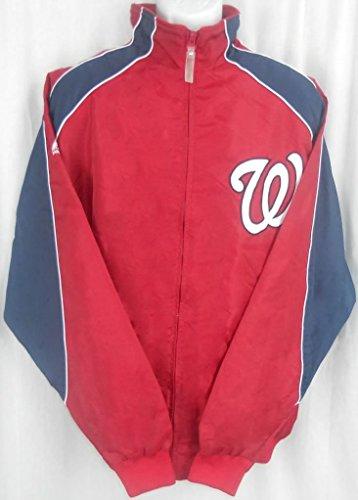 Majestic Washington Nationals MLB Textured Full Zip Red Jacket Big & Tall Sizes (XLT)