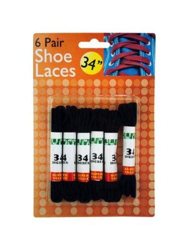 6-Pair Shoe Laces in Black - Set of 24