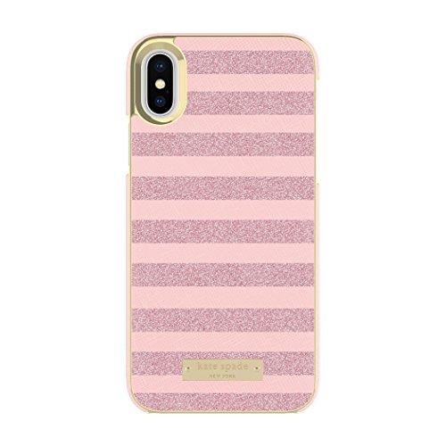 kate spade new york Wrap Case for iPhone X - Glitter Stripe Rose Quartz Saffiano/Rose Gold -