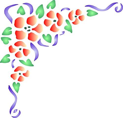 Border Stencil Flower - Rose Corner Stencil - (size 8.75