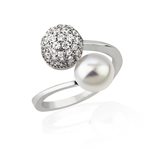Pearl Wrap Around (925 Sterling Silver CZ Cubic Zirconia & Cultured Freshwater Pearl Ball Wrap Around Adjustable Ring)