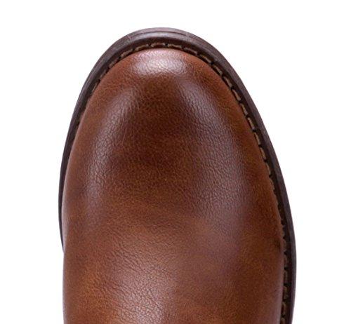 Schuhtempel24 Damen Schuhe Klassische Stiefeletten Stiefel Boots Blockabsatz Schnalle 3 cm Camel