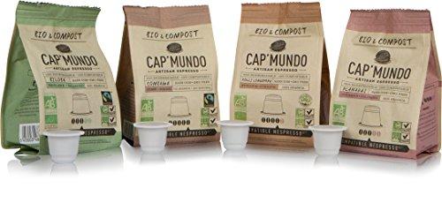 (Cap'Mundo Paris Organic and Compostable Espresso Capsules Variety Pack, 40 Single Cup Coffee Pods Compatible with Nespresso Original Machines)