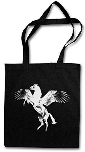 PEGASUS II Hipster Shopping Cotton Bag Borse riutilizzabili per la spesa – mitologia greca Pegaso Flying Pegasi Pferd Horse Greek Mythology