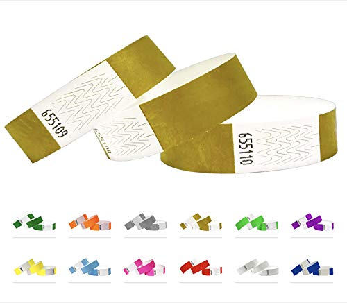 """Tyvek Wristbands - 500 Pack - 3/4"""" Tyvek Wristbands for Events (Gold, 500 Pack)"""
