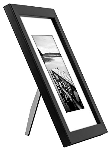 Americanflat 4 Piece Black Picture Frame Set | Displays 8x10 inch Photos. Shatter-Resistant Glass. Hanging Hardware Included! - Design: Black 8x10 inch picture frames; comes with a white beveled mats and hanging hardware for hassle-free display in both horizontal and vertical formats to hang flat against the wall; includes easel stands for tabletop or desktop display Material: Wood frames with polished shatterproof glass fronts that give clear views of your photos Quality: Durable, gallery-style frames; the frame fronts have clear shatterproof glass and sturdy backboards to keep the photos in place - picture-frames, bedroom-decor, bedroom - 41N%2B6WH6NsL -
