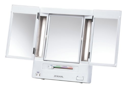 - Jerdon Tri-Fold Two-Sided Lighted Makeup Mirror with 5x Magnification, White Finish
