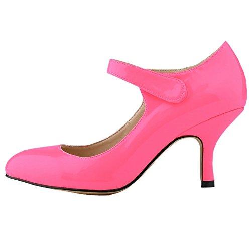 HooH Mary Peach Kitten Pumps Jane Heel Shoes Women's Wedding rgf8rW