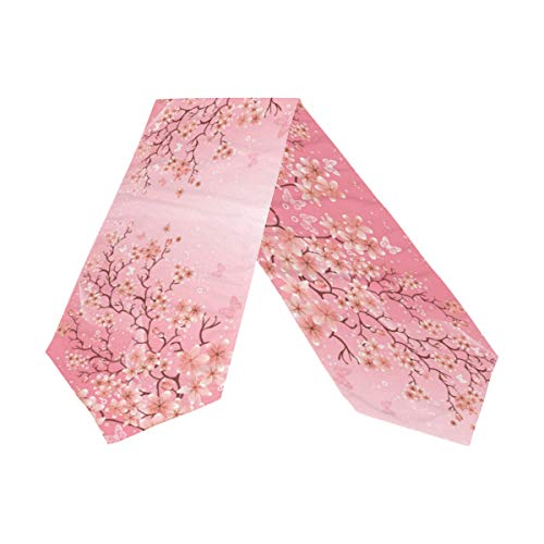 WOOR Double-Sided Cherry Blossom Pattern Table Runner 13 x 90 Inches Long,Table Cloth Runner for Wedding Party Holiday Kitchen Dining Home Everyday Decor