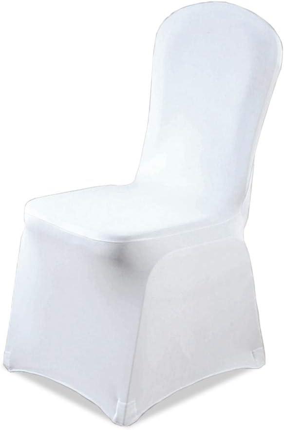 wolketon Housse de Chaise 10 pi/èce de Salle /à Manger Couverture Couleur Blanc Unie Polyester Spandex pour de d/écoration de Ceremonie F/ête /év/énement Anniversaire