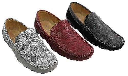 Chaussures En Cuir De Serpent Bateau Pont Hommes Mocassin Noir Blanc Slip Italien Rouge Blk