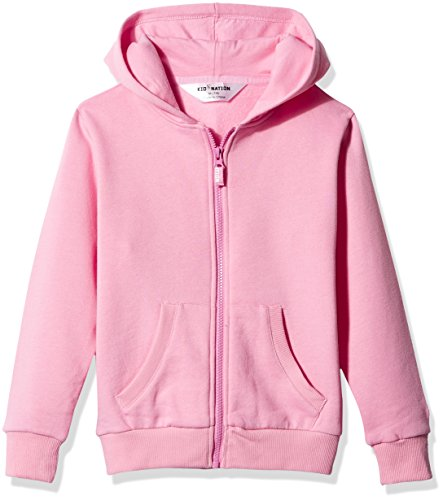Kid Nation Kids' Brushed Fleece Zip-up Hooded Sweatshirt for Boys Girls L Seashell Pink