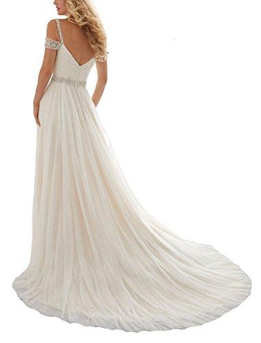 CoCogirls Chiffon Braut Perlstickerei Abendkleid Strand Brautkleider Lange A Straps White Romantisch Hochzeitskleider line CxrYC4w
