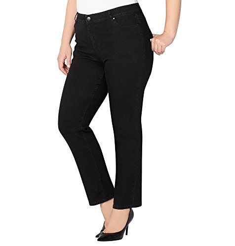Avenue Denim (Avenue Women's 1432 Straight Leg Jean In Black, 16 Black)