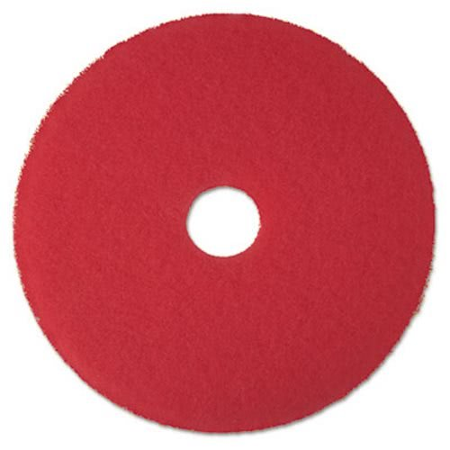 "3M 08392 Low-Speed Buffer Floor Pads 5100, 17"" Diameter, Red (Case of 5)"