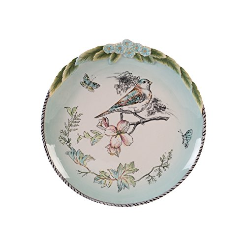 Fitz and Floyd 21-056 English Garden Stoneware Accent Plate Bird, Baby Blue