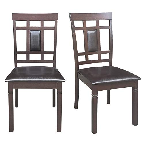 """Giantex Set of 2 Dining Chairs Wood Armless Chair Home Kitchen Dining Room High Back Chairs w/PU Leather Padded Seat (19""""×20""""×37.5″(W×D×H), Dark Brown)"""