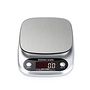 Digital Food Scale, Stainless Steel Kitchen Weight Scale Portable Electronic Cooking Scales 3kg/5kg/10kg Maximum Weighing Measuring in g/oz/ml/fl:oz(5kg/0.1) 41N 2B8mqmSJL