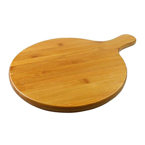 B Blesiya Durable Round Flat Bamboo Pizza Paddle Serving Board Cutting Tray Plates Home Restaurant 8 Sizes - 13 inches ()