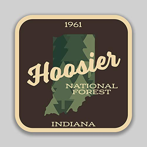 JMM Industries Hoosier National Forest Idniana Vinyl Decal Sticker Car Window Bumper 2-Pack 4-Inches 4-Inches Premium Quality UV-Protective Laminate PDS1408