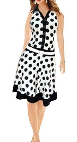 Jaycargogo Femmes V Polka Rétro Vintage Cou Dot Balancer Rockabilly Robe Blanche
