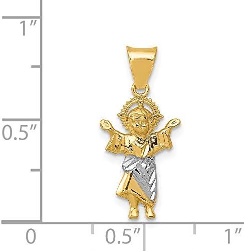 14k Yellow Gold And Rhodium Polished Baby Jesus Pendant 22x10mm