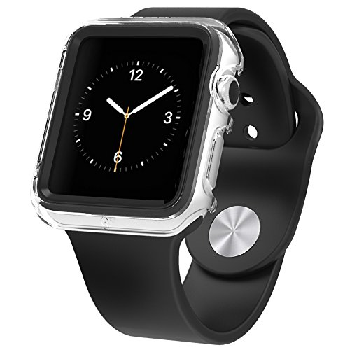 Apple Watch Premium Protective Case Poetic [Duo Lite] Apple Watch 42mm Case Ultimate Shock Protection In A Thin Minimal Design NEW [Duo] [ClearBlack] - [Includes 2 Screen Protectors] Ultra Stylish Protection From Drops And Impact With A Premium D...