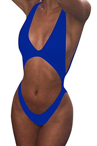 Viottis Women's Bandage Cut-out Halter One-piece Monokini Swimsuit Sky Blue S (Halter Swimsuit Cut Out)
