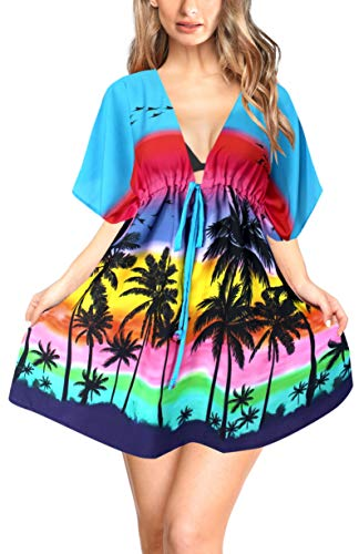 - LA LEELA Soft Fabric Digital HD Tassel Swim Cover Up OSFM 14-24 [L-3X] Blue_6539
