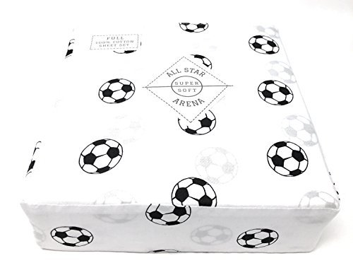 All star arena Soccer FULL Sheet Set | 100% Cotton | Black and White Football/Soccer Sports