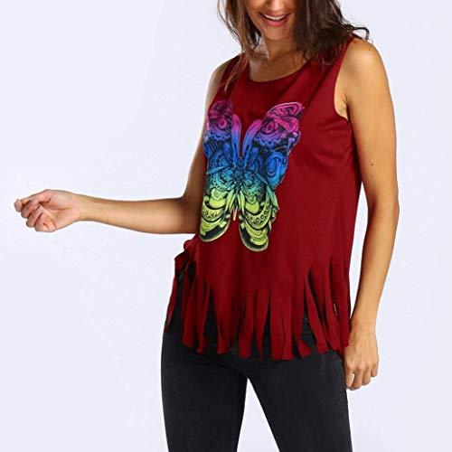 Manches Femme Debardeur Haut Baggy Sport Imprim Tunique Elgante Blusen Shirts sans Rouge Et Top Houppe Mode Papillon Casual nIddqAF