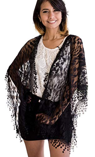 Women's lightweight Feminine lace teardrop fringe Lace Scarf Vintage Scarf Mesh Crochet Tassel Cotton Scarf for Women,One Size,Black 21 (Shawl With Fringe)