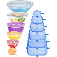 [12pack] Longzon Silicone Stretch Lids 6 Clear Round 6 Blue Rectangle, Magic Lids Reusable Food Covers for Bowls, Cups…