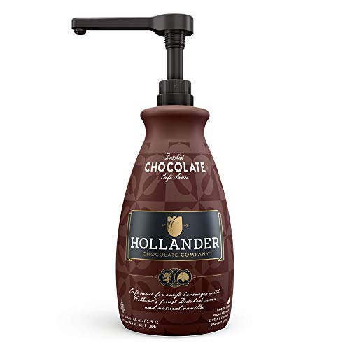 Dutched Chocolate Café Sauce by Hollander Chocolate Co. | For Mochas, Hot Cocoa, Desert | Perfect for the Professional or Home Barista - Net Wt. 88 oz (64 fl. Oz.) Large Bottle (PUMP Included)