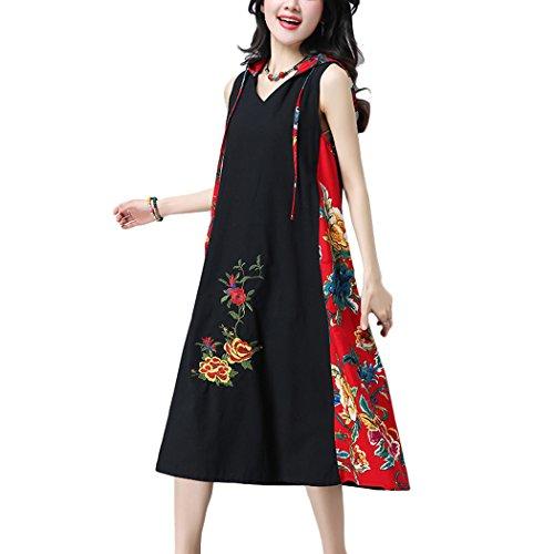 VENIMASEE Frauen Chinesische Folk Vintage Stil ärmellose Malerei Print Kapuzen-Baumwoll-Leinen Casual Baggy lose Kleid Rot