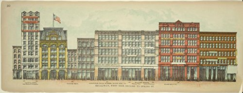 Historic 1899 print | Broadway, West Side. Broome to Spring St. | Antique Vintage Poster Print Reproduction | |Streets | Buildings, structures, - West Broome And Broadway