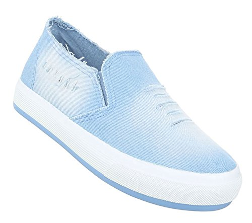 Damen Halbschuhe Schuhe Slipper Loafer Hellblau