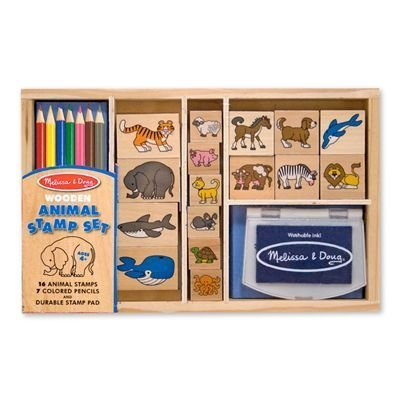 Animal: Wooden Stamp Set + FREE Melissa & Doug Scratch Art Mini-Pad Bundle [37983]