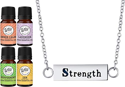 """Wild Essentials""""Strength"""" Essential Oil Diffuser Bar Necklace Gift Set Aromatherapy Pendant, 24"""" Stainless Steel Chain, 12 Color Refill Pads and Pure Oils: Lavender, Peppermint, Inner Calm, Zen"""