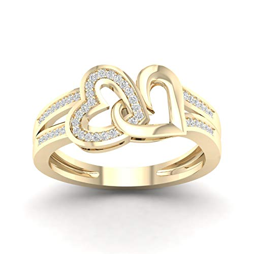 10k Yellow Gold Real Natural Diamond double Heart Engagement Ring Size 7(0.15ct/H-I,I2) 10k Double Heart Ring